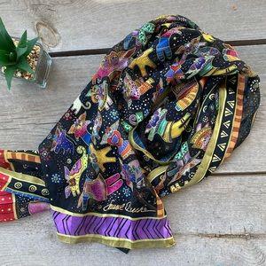 Laurel Burch silk Flying Cats Scarf